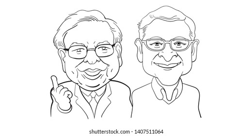 May 26, 2019. Caricature Illustration. Character of Warren Buffett from Berkshire Hathaway and Bill Gates, Board of Microsoft Corporation in USA.  Richest businessmen in the world ranking.