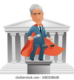 May 3, 2018. Caricature of American attorney and appointed Special Counsel Robert Mueller as a superhero.