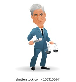 May 3, 2018. Caricature of American attorney and appointed Special Counsel Robert Mueller. Vector Illustration.