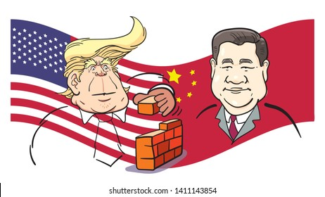 May 30, 2019. Caricature drawing Illustration. Character portrait of Donald Trump,the President of USA. Xi Jinping, President of the People's Republic of China. American and China flag background.