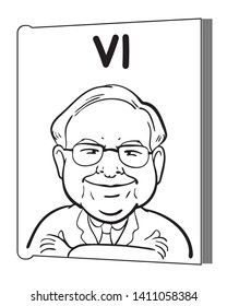 """May 30, 2019. Caricature Illustration. Character drawing of Warren Buffett, The Investor in USA. He is an one of the richest businessmen in the world. """"VI"""" means his philosophy """"Value investing""""."""