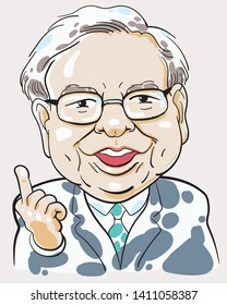 """May 30, 2019. Caricature Illustration. Character drawing of Warren Buffett, The Investor in USA. He is an one of the richest businessmen in the world. His philosophy """"Value investing""""."""