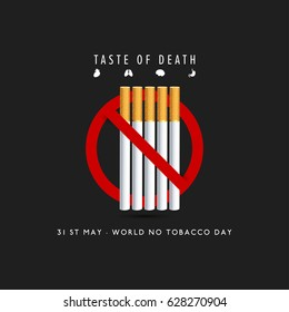 May 31st World No Tobacco Day. No Smoking Day Awareness. Poison of cigarette. Vector. Illustration. Cause of Cancer. Ban Cigrattes