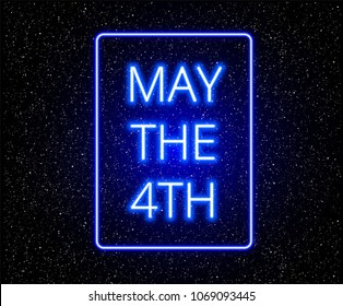 May the 4th abstract background with glowing blue text on stars background - vector illustration