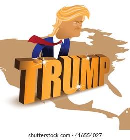 MAY 6, 2016: Illustrative editorial cartoon of Donald Trump behind a gold wall. EPS 10 vector.