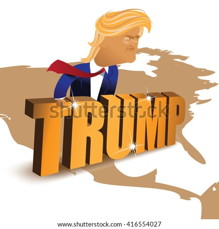 MAY 6, 2016: Illustrative editorial cartoon of Donald Trump behind a gold wall. EPS 10 vector.