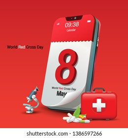 May 8th, calendar on mobile phone, red background, World Red Cross and red Crescent Day, Vector Image