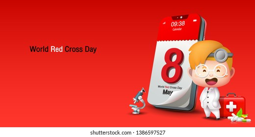 May 8th, cartoon calendar on mobile phone, red background long size, World Red Cross and red Crescent Day, Vector Image