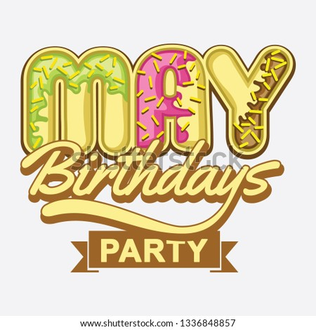 May Birthdays Party Vector Stock Vector Royalty Free 1336848857