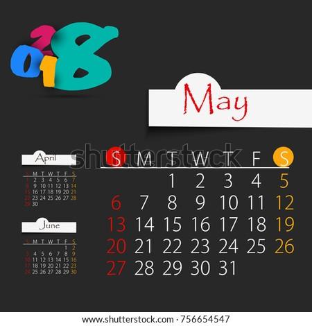 May Calendar 2018 Year Editable Template Stock Vector Royalty Free