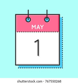 May Calendar Icon. Flat and thin line vector illustration. Spring calendar sheet on light blue background. May 1st.