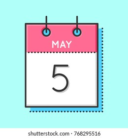 May Calendar Icon. Flat and thin line vector illustration. Spring calendar sheet on light blue background. May 5th. Father`s day in Germany. International Midwives day. Cinco de mayo