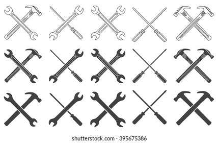 May Day. Wrenches, hammer and screwdriver thin line icons and silhouettes set