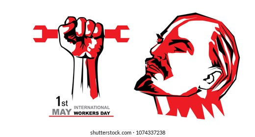 May first International Workers Day. International Workers Day with face of lenin creative Vector illustration on white  background.