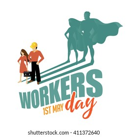 May first workers day superhero design EPS 10 vector