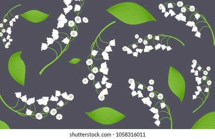 May Lily. Vector Illustration with Lily of the Valley. Beautiful Template with Convallaria Flowers. Spring Flowers in Hipster Style for Design, Card, Greeting, Invitation, Wedding, Poster, Banner.