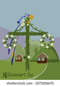 May pole.Midsummer festival.Midsummer's Day.