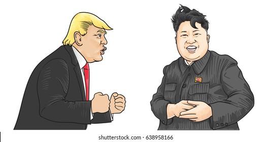 May,13,2017:Caricature character illustration of Kim Jong Un and Donald Trump