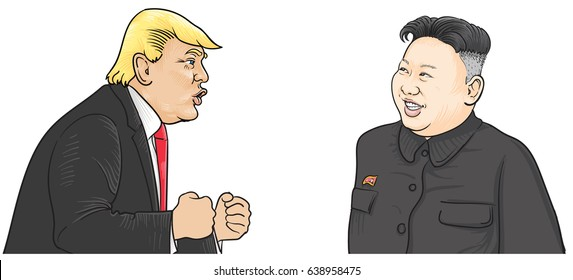 May,13,2017:Caricature character illustration of Kim Jong Un and Donald Trump