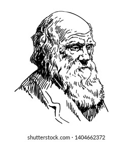 May20,2019: Charles Robert Darwin. Naturalist and geologist. Vector illustration isolated on white background.