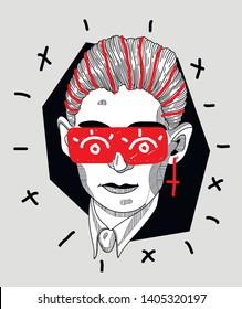 May.23, 2019: Franz Kafka. Vector illustration hand drawn. Crazy portrait with glasses