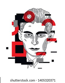 May.23, 2019: Franz Kafka. Vector illustration hand drawn. Glitch.