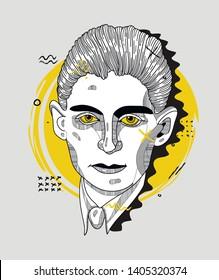 May.23, 2019: Franz Kafka. Vector illustration hand drawn. Creative geometric portrait.