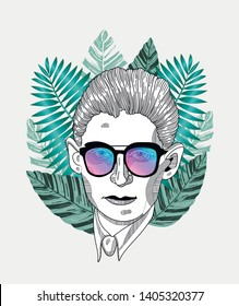 May.23, 2019: Franz Kafka. Vector illustration hand drawn. Hipster portrait with glasses and tropical leaves. Summer style.
