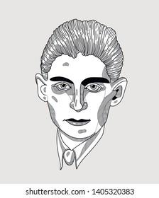 May.23, 2019: Franz Kafka. Vector illustration hand drawn.