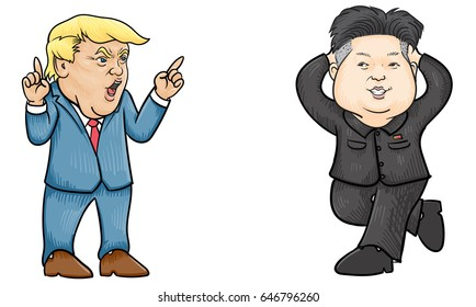 May,25,2017:Caricature character illustration of Kim Jong Un and Donald Trump