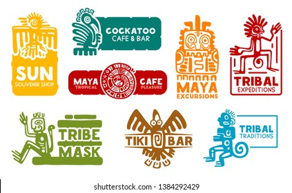 Maya and Aztec business corporate identity icons. Vector Mayan and Aztec symbols, souvenir shop or food cafe bar and Mexico historic travel trip excursion agency