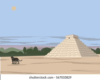 Maya, Aztec, Inca Civilization, city in the jungles, black panther and Mayan temple, panther at sunset, vector illustration.
