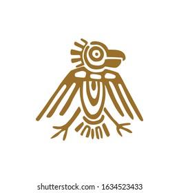 Maya bird, fantastic animal retro icon isolated feathered animal. Vector american Aztec culture totem, tribal ethnic mascot, mayan calendar symbol. Aztec sign, ancient religion tribal totem symbol