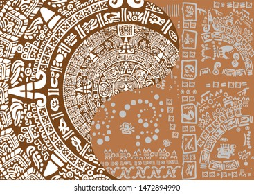 Maya calendar background design. Images of characters of ancient American Indians.The Aztecs, Mayans, Incas. Mayan calendar.