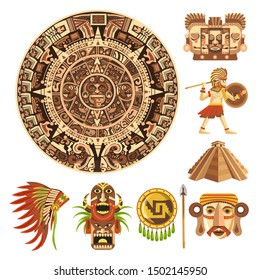 Maya calendar, Mayan or Aztec culture, Mexican history, isolated icons vector. Ancient religion, tribal sun stone and pyramid. Face sculptures and masks, warrior and feather hat, shield and spear