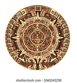 Maya calendar of Mayan or Aztec vector hieroglyph signs and symbols