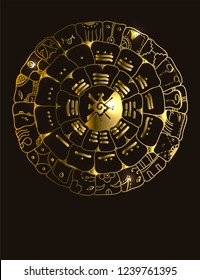 Maya calendar of Mayan or Aztec vector hieroglyph signs and symbols. Golden symbol of maya.