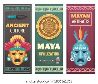 Maya civilization ancient culture textile stone artifacts museum exhibit advertisement announcement 3 cartoon ornamental banners vector illustration