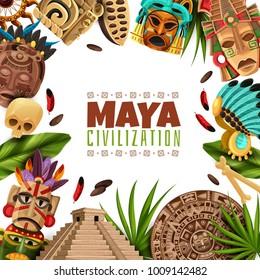 Maya civilization cartoon frame with chichen itza pyramid mayan calendar masks and accessories of ancient aztecs vector illustration