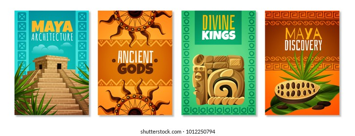Maya civilization cartoon posters with divine kings ancient gods architecture landmark decorative symbols isolated vector illustration