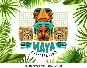 Maya civilization horizontal poster with mayan mask and fragments of ancient calendar cartoon vector illustration