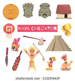 Maya civilization set of ancient masks accessories buildings and people isolated on white background cartoon vector illustration