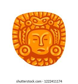 Maya civilization symbol, American tribal culture element vector Illustration on a white background
