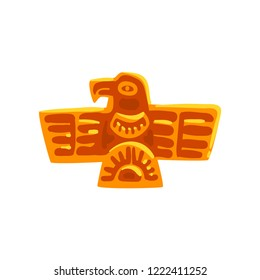 Maya civilization symbol, ancient totem bird, American tribal culture element vector Illustration on a white background