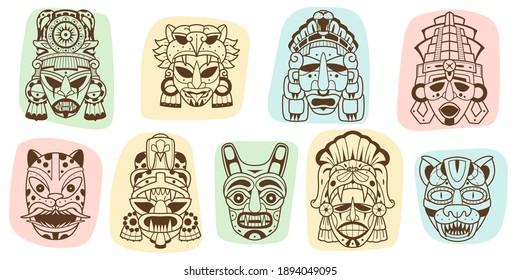 Maya culture masks. Ethnic Indian American inca native elements, ancient aztec rituals idols, religion tribal decorative symbols. Vector set