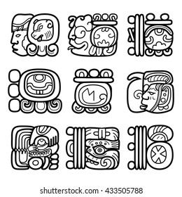 Maya glyphs, Mayan writing system and languge vector design