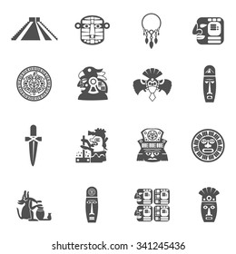 Maya icons black set with traditional mexican indian culture symbols isolated vector illustration