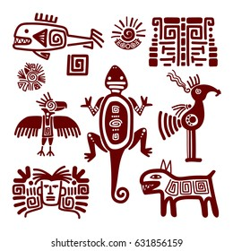 Maya or indian traditional signs and symbols on white background. Vector illustration