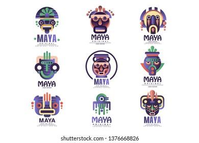 Maya logo original design set, emblems with ethnic mask, Aztec signs vector Illustrations on a white background