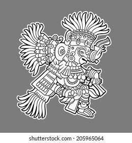 Maya person. Black and white graphic image of the Maya. Maya designs. Maya design elements.
